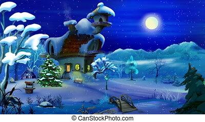varázslatos, karácsony, éjszaka