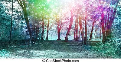 varázslatos, lelki, erdőség