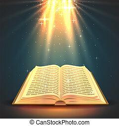 varázslatos, object., vallás, könyv, fény, nyílik