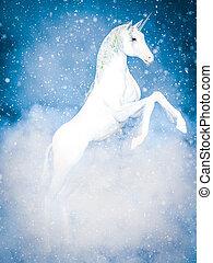varázslatos, snow., vakolás, egyszarvú, fehér, 3