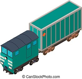 vasút, isometric, ikon, mód, kocsi