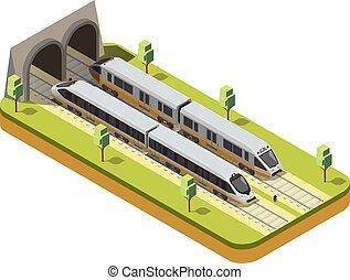 vasút, zenemű, isometric, kiképez