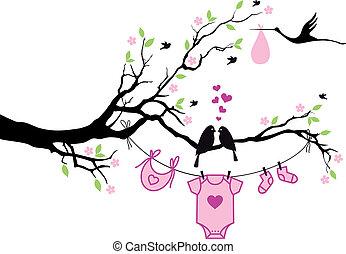 vecto, fa, leány, madarak, csecsemő