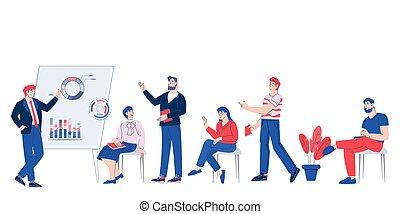 vector., bemutatott, ügy, tanácskozik, karikatúra, munka, ábra, befog, eredmények, őt fejteget