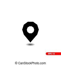 vector., decagon, jelkép, elhelyezés, ikon