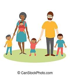 vector., faj, három, család, karikatúra, children., ilustration, kevert