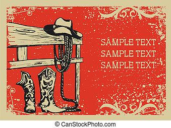 .vector, kép, háttér, alapismeretek, élet, grunge, cowboy's, szöveg, grafikus