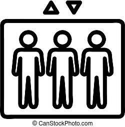 vector., körvonal, jelkép, ábra, ikon, emberek, lift, elszigetelt