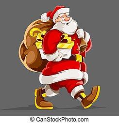 vector., sack., tehetség, karácsony, klaus, szent, holiday.