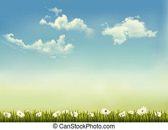 vector., természet, ég, zöld, retro, háttér, fű