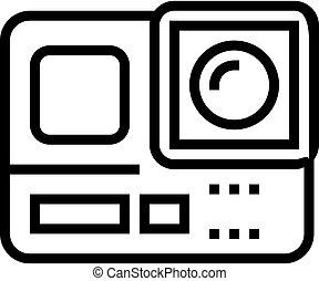 vektor, ábra, fényképezőgép, akció, egyenes, ikon