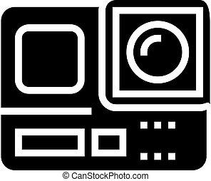 vektor, ábra, fényképezőgép, glyph, akció, ikon