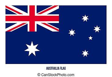vektor, ábra, fehér, flag., háttér., ausztrália, nemzeti lobogó