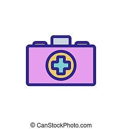 vektor, ábra, ikon, áttekintés, medikus, bőrönd