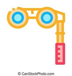 vektor, ábra, ikon, áttekintés, távcső