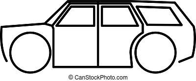vektor, ábra, ikon, tehervagon, elszigetelt, autó