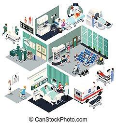 vektor, ábra, kórház, tervezés, isometric