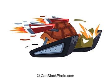 vektor, ábra, karikatúra, tengeri teknős, gyorsaság, hírverő, fehér, állat, háttér, gyorsan, elbocsát, betű, cyborg, tigriscsiga