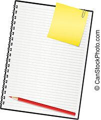 vektor, ábra, paper., jegyzetfüzet
