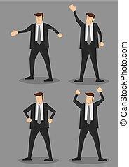 vektor, ábra, test, karikatúra, betű, nyelv, üzletember