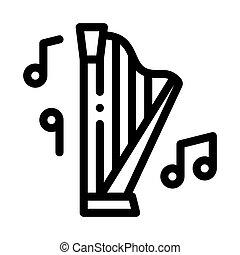 vektor, ábra, zenés, ikon, áttekintés, hárfa