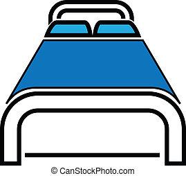 vektor, ágy, ábra, ikon
