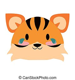 vektor, állat, karikatúra, tiger, csinos, ábra