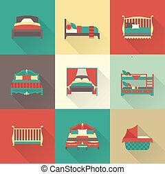 vektor, állhatatos, ágy, ikon