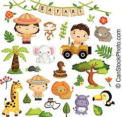 vektor, állhatatos, állat, szafari, gyerekek