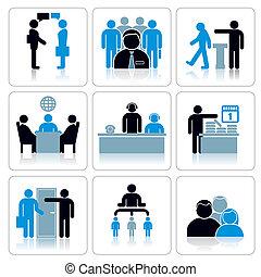 vektor, állhatatos, ügy, icons., emberek