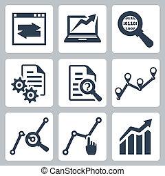 vektor, állhatatos, adatok, analízis, ikonok