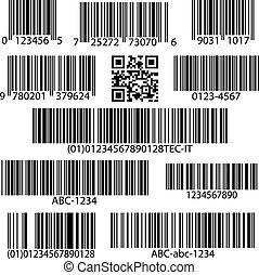 vektor, állhatatos, barcodes