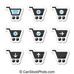 vektor, állhatatos, bevásárlókocsi, ikonok