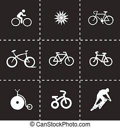 vektor, állhatatos, bicikli, ikonok