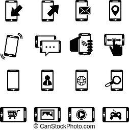 vektor, állhatatos, black telefon, ikonok