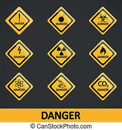vektor, állhatatos, címke, ábra, veszély