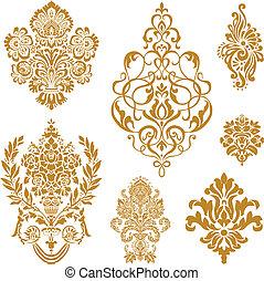 vektor, állhatatos, díszítés, arany, damaszt