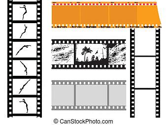 vektor, állhatatos, fényképezőgép, háttér, fehér, film