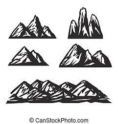vektor, állhatatos, fehér, hegy, ikonok, háttér.