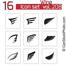 vektor, állhatatos, fekete, szárny, ikonok