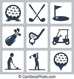 vektor, állhatatos, golf, ikonok
