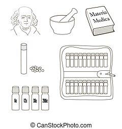 vektor, állhatatos, icons., homeopathy.