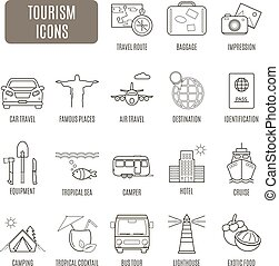 vektor, állhatatos, idegenforgalom, icons., pictogram
