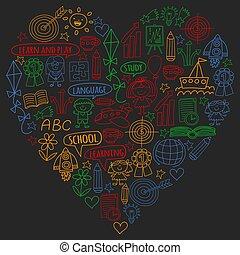 vektor, állhatatos, ikonok, festett, színes, angol, blackboard., nyelv, gyermekek, dolgozat, tanulás, szórakozottan firkálgat, mozi, rajz, darab, style.
