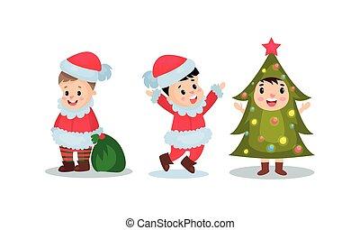vektor, állhatatos, jelmezbe öltöztet, ábra, öltözött, vidám christmas, gyerekek
