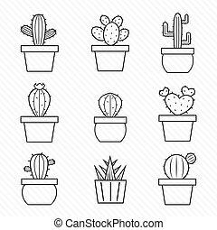 vektor, állhatatos, kaktusz, ikonok