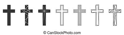 vektor, állhatatos, keresztény, icons., cross., elvont