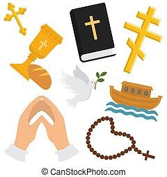 vektor, állhatatos, keresztény, jámbor, galamb, christianity., ráncos, ábra, aláír, jelkép, vallás, kereszt, biblia, bor, kézbesít, könyörgés, bread, pattern., vallásos, háttérfüggöny, rózsafüzér