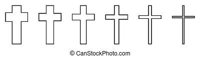 vektor, állhatatos, keresztény, kereszt, icons.