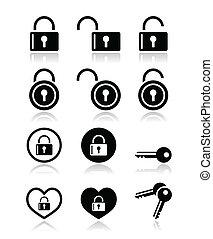 vektor, állhatatos, lakat, kulcs, ikonok